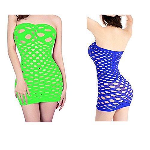 HNJZX Babydoll trägerlos Chemise Kleider Frauen Trägerlos One Piece Mini Kleid Röcke für Frauen eine Größe 2Pcs, C