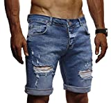 LEIF NELSON Herren Jeans Shorts Sommer Jogger Kurze Hose Jeanshose Chinos Cargo Bermuda Stretch Slim Fit LN1426; W32;