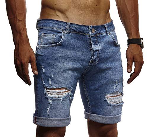 LEIF NELSON Herren Jeans Shorts Sommer Jogger Kurze Hose Jeanshose Chinos Cargo Bermuda Stretch Slim Fit LN1426; W29;