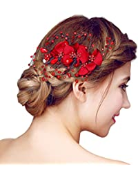 YAZILIND tocado nupcial clip de pelo flores de bolas de color rojo de la boda accesorios de pelo partido para las mujeres y las ni?as (1 PC)