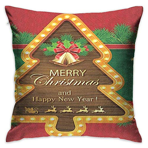 FPDecor Dekorativ Kissenbezug, Throw Pillow Cover Winter Holiday Christmas Tree Bell Reindeer Decorative Pillow Case Decor Square 18x18 Inch Cushion Pillowcase