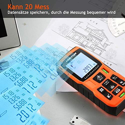Lomvum Medidor Laser de Distancia,  50M Profesional Metro Laser, Telemetro Laser con Precisión 2mm, Niveles de Burbuja