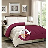 AVI Reversible Style Plain White & Wine 200 GSM Microfiber Comforter/Duvet/Quilt -Double Size - 90 X 100 inches
