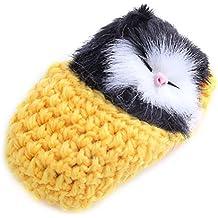 Natthom Mini gatito de bolsillo realista de la muñeca del gato que duerme en el deslizador de la lana Ornamentos lindos de la tabla