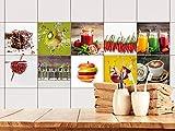 GRAZDesign 770497_10x10_FS20st Fliesenaufkleber Küche Obst und Gewürze Set | alte Küchen-Fliesen überkleben | Fliesenbild selbst gestalten (10x10cm//Set 20 Stück)