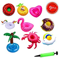 Meiyaa Inflatable Drink Holders, 9 Pcs Drink Floats Inflatable Cup Coasters with Mini Air Pump(Random Color) for Pool Party and Chindren Bath Toys