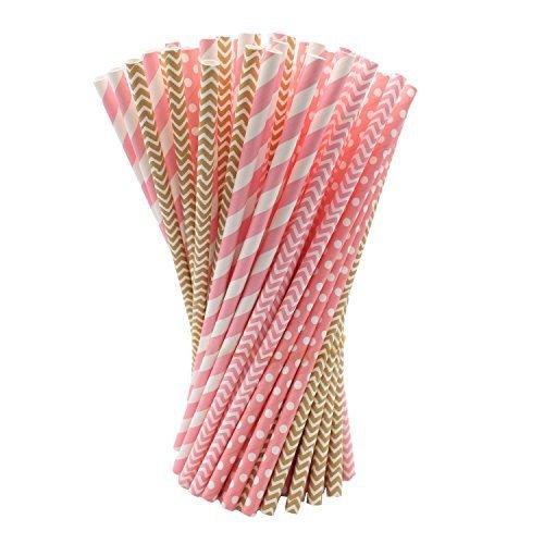 nkhalme Papier Stroh für Celebration, Weihnachten, Wedding, Parteien und Geburtstage Rosa und Gold ()