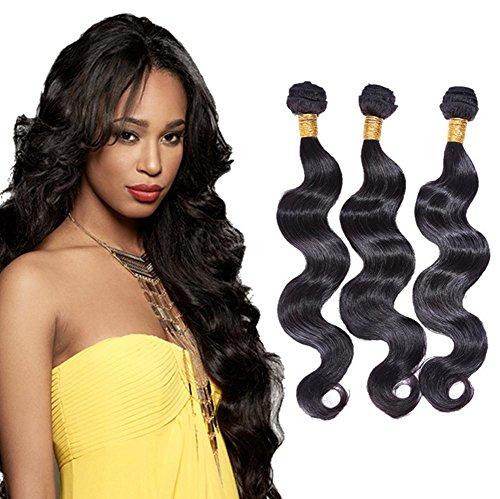 XYLUCKY Haarverlängerungen 7a indisches Haar Schuß Körper/lose Welle Hair Extensions 4 Bundles Längen/Mixpaket , 24 26 28 30 (Remy 24 Extensions Hair Indischen)