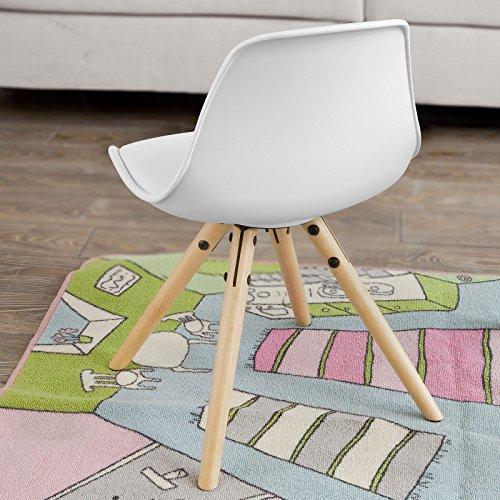 SoBuy FST46-W Fauteuil Enfant Chaise Confortable en Bouleau pour enfant avec assise rembourrée haute qualité- Blanc