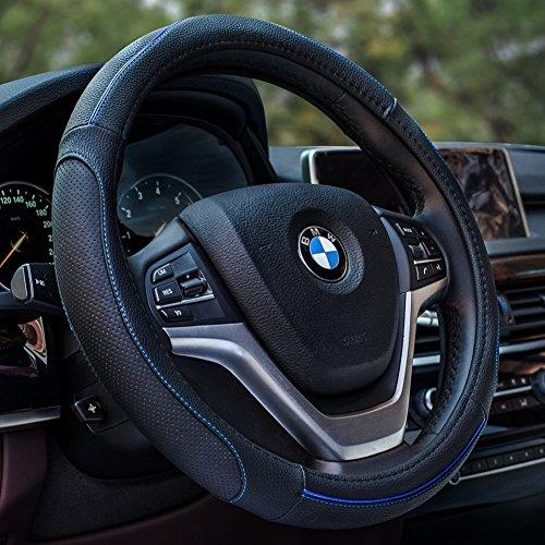 "Preisvergleich Produktbild HCMAX Fahrzeug Lenkradabdeckung Auto Lenkradschutz Universal Durchmesser 38cm (15"") Echtleder"