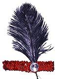 Das Kostümland Charleston Feder Stirnband Kira - Rot