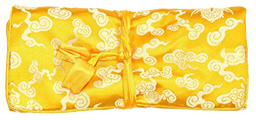 Bees Knees Fashion Yellow Cream Dragon Print Make Up Bolso De Rollo De Joyería