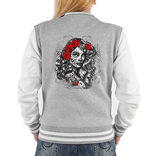 Goodman Design  Gothic Santa Muerte Girl Damen Jacke - College Jacke Frauen : Dia de los Muertos Girl - Collegejacke Damen/Mädchen Farbe: grau Gr: M