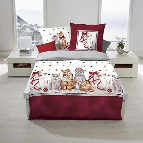 Traumschlaf Biber Bettwäsche Weihnachtskatzen Bordeaux 1 Bettbezug 155 x 220 cm + 1 Kissenbezug 80 x 80 cm