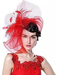 2827dd0b56830 June's Young Femmes Eléglante Fascinator Mini Chapeau avec Fleur en Organza  Plage Voyage Mariage Vacances Rouge