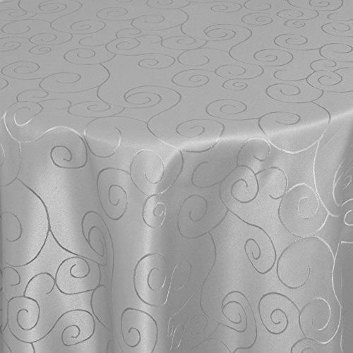 Tischdecke Stoff Damast Ornamente Jacquard Ranken Design mit Saum oval 140x190 cm Grau - Sonderposten