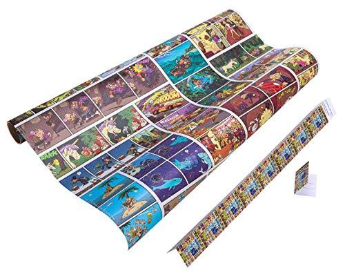 COMIC Geschenkpapier Kinder und Teenager - 5 Meter Geschenkpapier Rolle + 9x Geschenkanhänger für coole Mädchen & Jungs zum Geburtstag, Weihnachten, Ostern, Einschulung - reißfestes Geschenkpapier