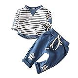 XXYsm 2pcs Baby Mädchen Set Streifen Tops + Hosen Outfits Kleidung Herbst Langarm Blau 80/6-12 Monate