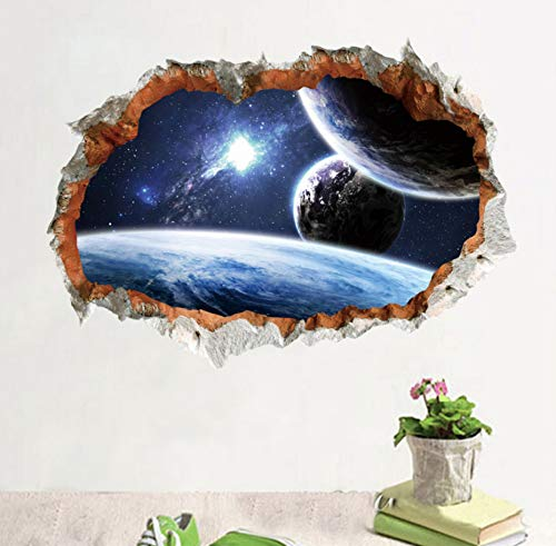 (LQWE 3D Effekt Broken Weltraum Planet Wandtattoos Für Kinderzimmer Wohnzimmer Wohnkultur Galaxy Wandbild Kunst PVC Aufkleber DIY Poster)