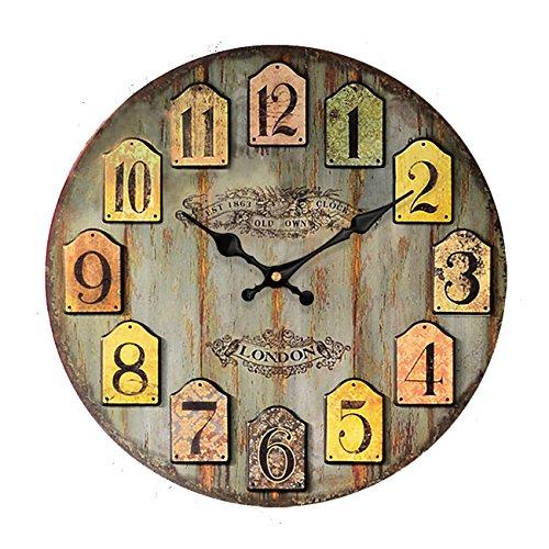 HUABEI 35 cm Orologio da Parete di Legno Silenzioso Stile Vintage Decorazione a Muro