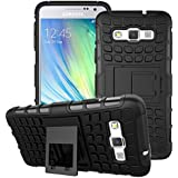 Connect Zone® Samsung Galaxy A3 (A300F) Tough Hard Rugged Builders Shock Proof Heavy Duty Case With Back Stand + Screen Guard And Polishing Cloth + Screen Protector And Polishing Cloth