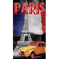 DRAP DE PLAGE PARIS TOUR EIFFEL SERVIETTE EPONGE VELOURS IMPRIMEE 95x175cm