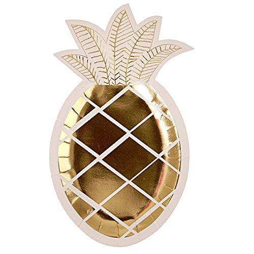 (Hacoly 8er Ananas Pappteller bunt einweggeschirr hochwertig Einwegteller Papierbesteck umweltfreundlich biologisch abbaubar kompostierbar für kindergeburtstag Party Hochzeit - Golden)