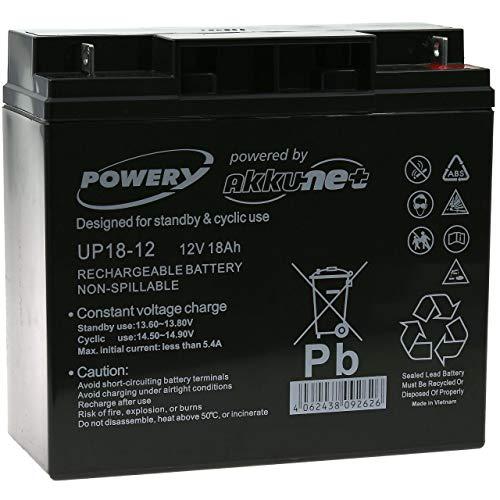 Powery Batería de GEL 12V 18Ah, 12V, 18Ah/216Wh, Lead-Acid Libres de mantenimiento. Baterías de alta calidad de marca Powery. Para suministro de energía en la industria, SAI, aplicaciones de seguridad y alarmas.Datos técnicos:Voltaje: 12VoltRendimien...