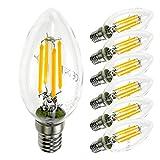 SDK 6er Pack E14 Kerze LED Lampe für Kronleuchter, E14 Glühfaden Retrofit Classic, 4W 400 Lumen ersetzt 40 Watt, 2700K/3000K Warmweiß, Filament Fadenlampe, Glas, nicht dimmbar