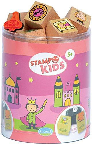 Aladine 3315 Stampo Kids - Lote de sellos de madera y tampón para decorar (15 sellos), diseño del país de las hadas