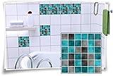 Fliesenaufkleber Fliesenbild Fliesen Aufkleber Fliesenimitat Mosaik Türkis, 12 Stück, 20x20cm