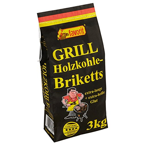 200 x 3,0 kg Favorit Grill Holzkohle-BRIKETTS, Grillbriketts, Briketts, 600 kg Palette mit 200 Sack