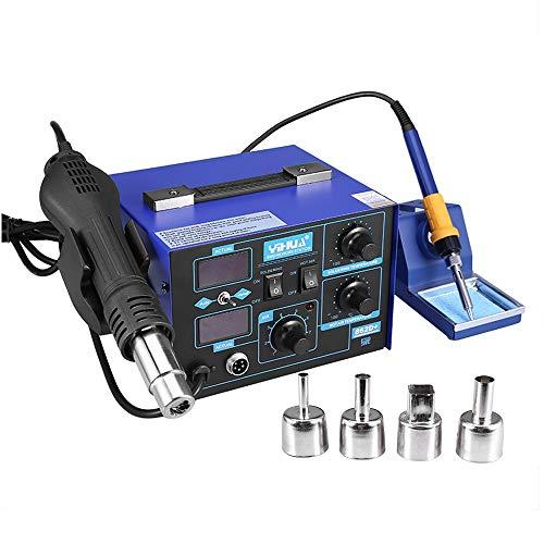 Estacion de soldadura 2 en 1 electronica Kit del Soldador Digital con Pistola de Aire Caliente 862D