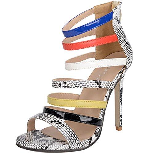 Oasap Damen Offen Stiletto Schlangenhaut Kontrastfarbige Riemchen Sandalen Grey