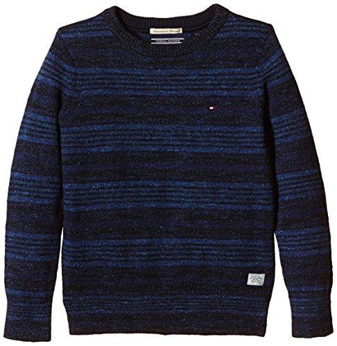 Tommy Hilfiger - Maglione Fayo Stripe Cn Sweater L/S, Bambino, Colore Azul (Black Iris 2), Taglia 10