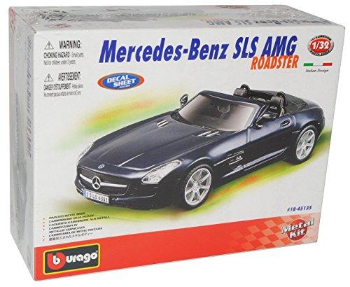 Bburago Mercedes-Benz SLS AMG Roadster Schwarz R197 Ab 2009 Bausatz Kit 1/32 Modell Auto mit individiuellem Wunschkennzeichen