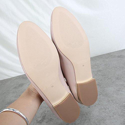 &qq Chaussures plates, ensembles sauvages de pieds, chaussures décontractées paresseuses, cuir verni bas, chaussures de mode 37