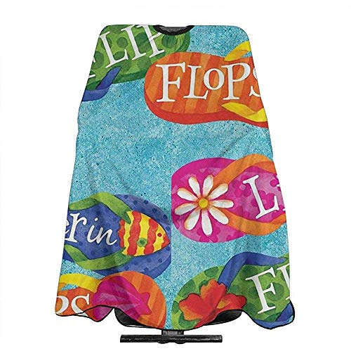 Color Life Is Better In Flip Flops Haircut Delantal Salon Cape Peluquería Cape Hair Cutting Cloak Haircut...