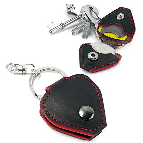 Tuff-Luv Plektrum Gitarre echtes Ledertasche & Schlüsselanhänger - Schwarz mit roter Ordnung
