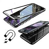 Coque Samsung Galaxy S9 Plus, [Adsorption Magnétique] Housse Alliage D'aluminium Verre Trempé Cas Ultra Slim Anti-rayures Aimant Flip Cover Case pour Samsung Galaxy S9 Plus [Version Améliorée] - Noir