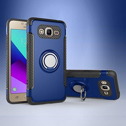 SANHENGMIAO COVER Für Samsung Handy Samsung Galaxy J2 Prime Schutzhülle, ausgestattet mit 360-Grad-Schwenk-Fingernägeln und Magnet-Autoabdeckungen. (Farbe : Blau)