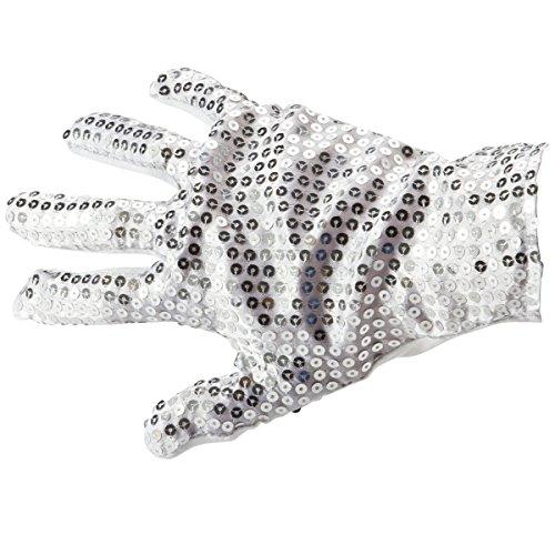 Goods & Gadgets Popstar Pailletten Handschuhe Michael Jackson Glitzer-Handschuh Silber