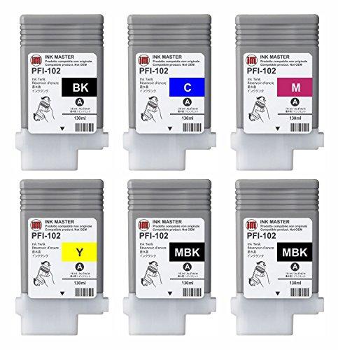 Galleria fotografica Ink Master - SET 6 Cartuccia compatibile CANON PFI-102 CMYKMkMk per Canon IPF 500 510 600 605 610 650 655 700 71
