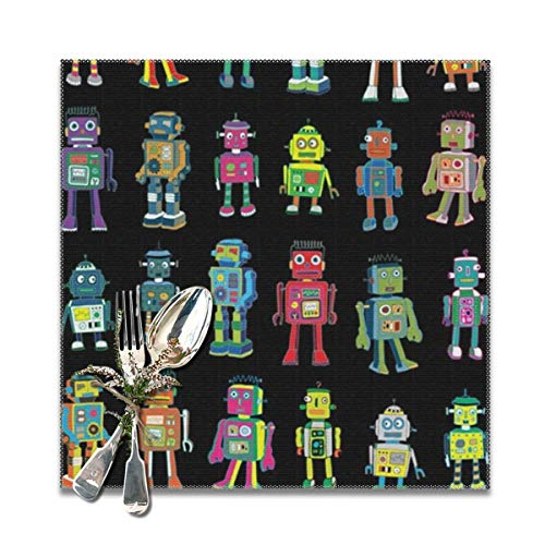 best gift VVintage Robot Line-Up Washable Placemats for Dining Table Double Fabric Printing Cotton Place Mats for Kitchen Table Set of 6 Table Mat 12