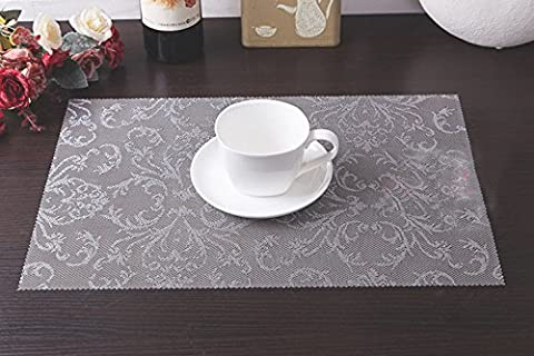 Tischsets (6er Set) - Soriace® Sets Tabellenplatzmatten Abendessen waschbare Kunststoff Vinyl platzsets / tischläufer, 45 * 30cm, Gray