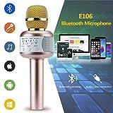 Karaoke-Mikrofon, Bluetooth, ZZM Handheld Wireless KTV Mikrofon mit Bluetooth Lautsprecher Aufnahmegerät für iPhone, iPad, Android Smartphone oder PC für Kinder und Erwachsene, Rotgold