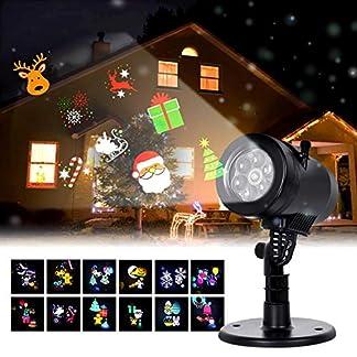 Albrillo Luz de Proyección LED para Navidad – Proyector con Varios Diapositivas, IP44 Impermeable, Decoración Interior y Exterior para Navidad Halloween Boda Cumpleaños Fiesta (12 Diapositivas)