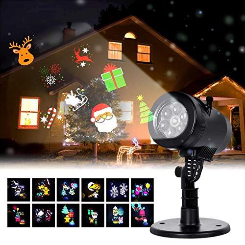 Albrillo Luces de Proyector Navidad - Interior y Exterior Fochea IP44 LED Luces Proyección con 12 Diapositivas Decoración de Jardín Casa para Año Nuevo Boda Halloween