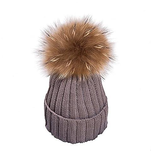 Yidarton Frauen Mädchen Strickmütze Pelzmütze Echt Große Waschbär Pelz Pom Pom Beanie Hüte Winter, Braun, Einheitsgröße