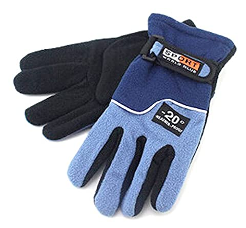 BXT Unisex Insulated Warm Fleece Gloves, Polar Fleece Thermal Windproof Snowproof Winter Sports Gloves Ski Snowboard Riding Motocycling Bike Hiking Camping Outdoor Gloves (Women's Navy Blue)